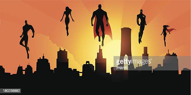 superheroes above the city - superhero stock illustrations
