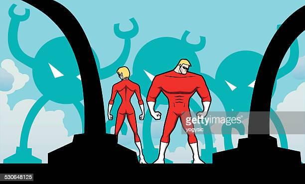 ilustrações, clipart, desenhos animados e ícones de os super-heróis vestem uma assim ambushed - fighting stance