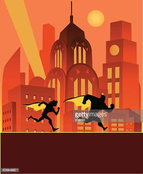 superheroes of the night - center athlete stock illustrations