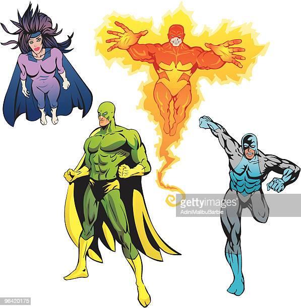 illustrations, cliparts, dessins animés et icônes de les super héros pack - quatre personnes