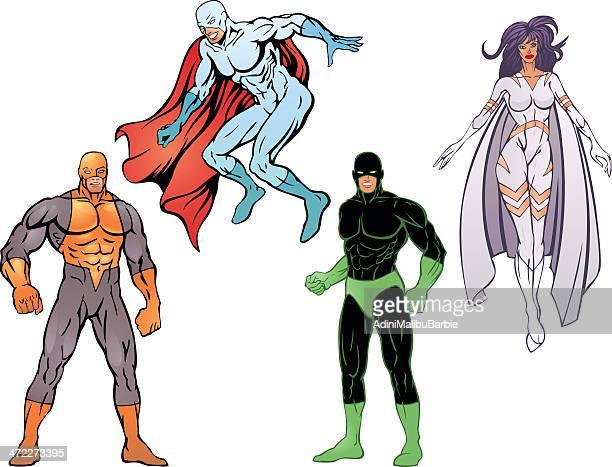 illustrations, cliparts, dessins animés et icônes de les super héros pack vi - quatre personnes