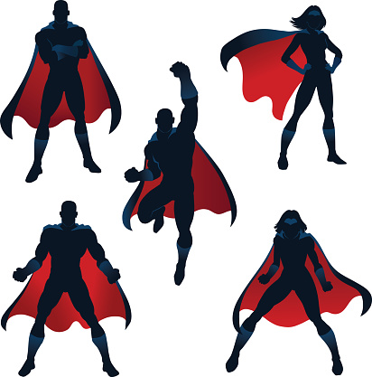 superheroes silhouettes in red and blue - gettyimageskorea