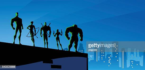 superheroes team at night in big city - archery stock illustrations
