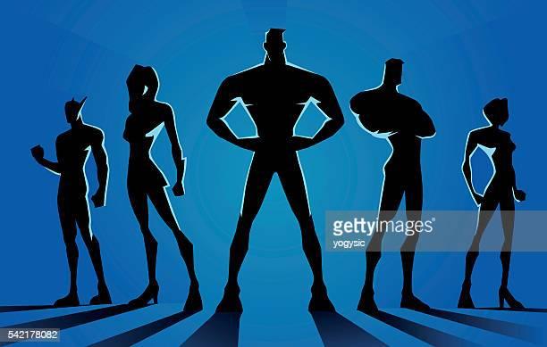 illustrazioni stock, clip art, cartoni animati e icone di tendenza di i supereroi squadra scuro silhouette - rivolto verso l'obiettivo