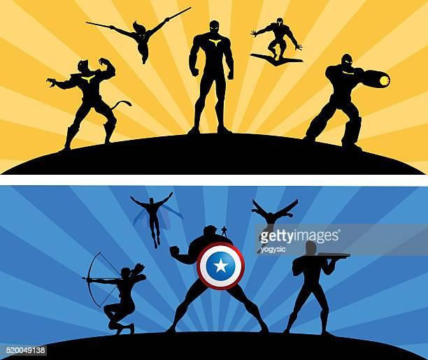 superheroes team rivalry vector - archery stock illustrations