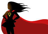 Superheroine in red cape with female symbol