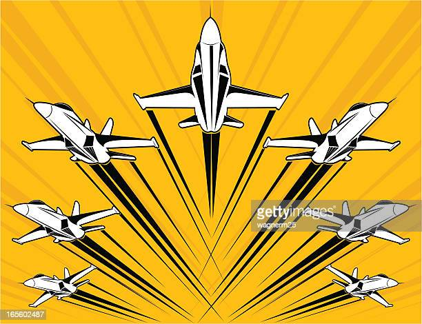 f18 super-hornet flying in formation - fa 18 hornet stock illustrations