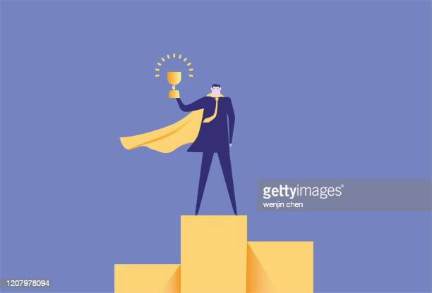 superman standing on the podium holding a trophy stock illustration - the olympic games stock illustrations