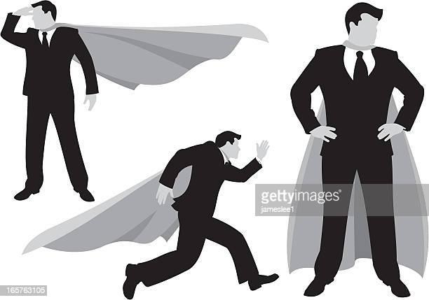 super(business)man - hand on hip stock illustrations