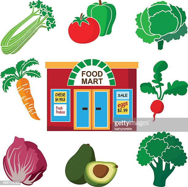 supermarket and vegetable produce - endive stock illustrations, clip art, cartoons, & icons