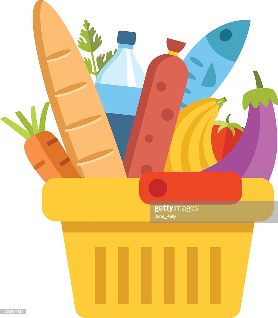 Supermarket basket with food. Colorful modern flat design vector illustration