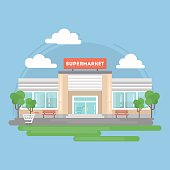Supermarket building isolated.