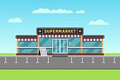 Supermarket building, shopping market, mall vector illustration