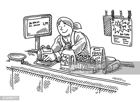 Supermarket Checkout Counter Woman Drawing Vector Art