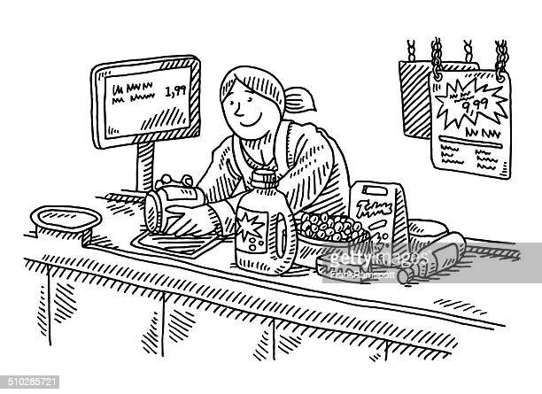 Supermarket Checkout Counter Woman Drawing
