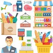 Supermarket equipment, food assortment, food retail flat icons set