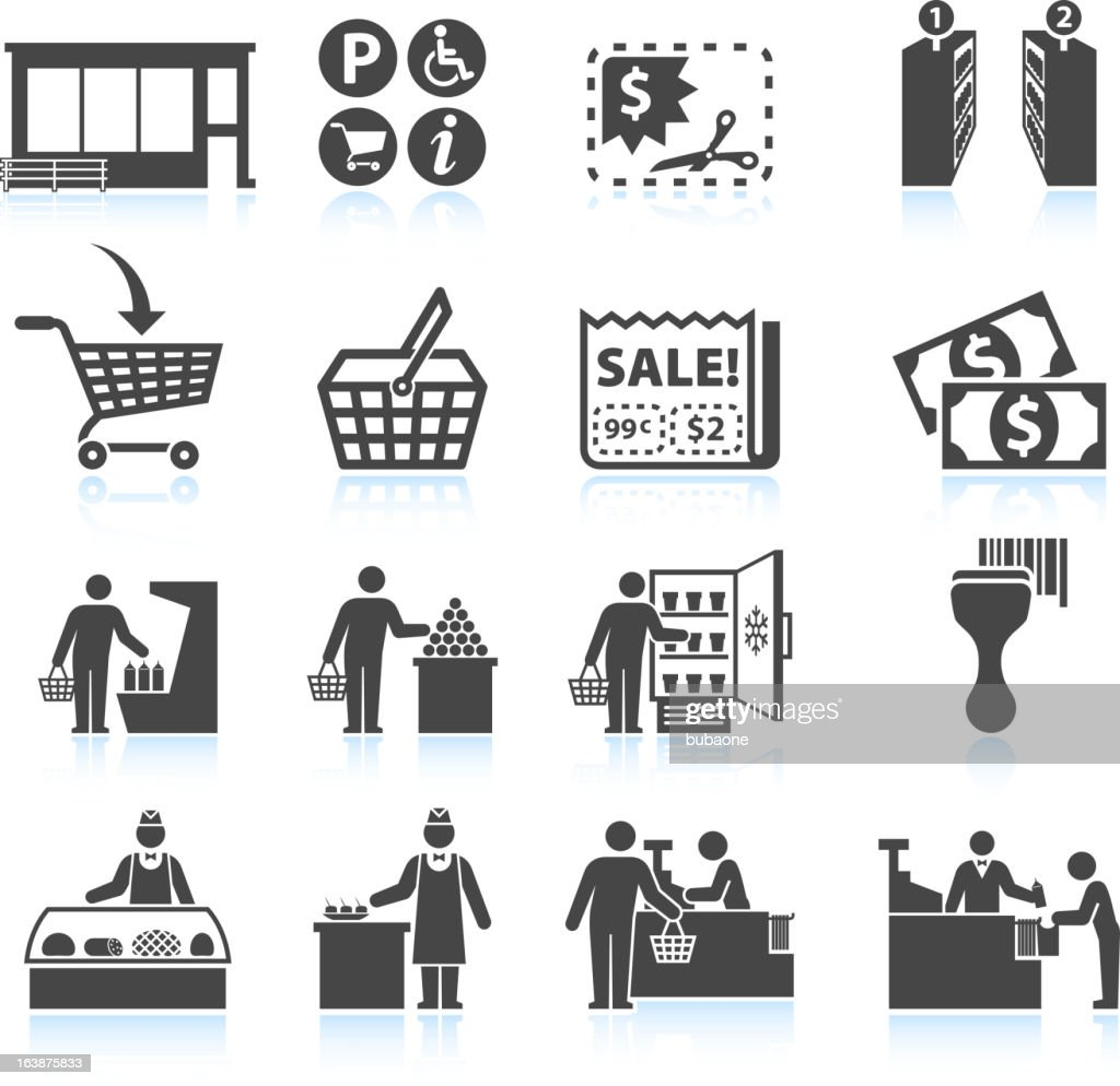 Supermarket Experience and grocery Shopping royalty free vector icon set : stock illustration