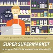 Supermarket flat design layout, vector illustration of store and seller