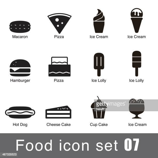 supermarket food flat icon set design - flavored ice stock illustrations, clip art, cartoons, & icons