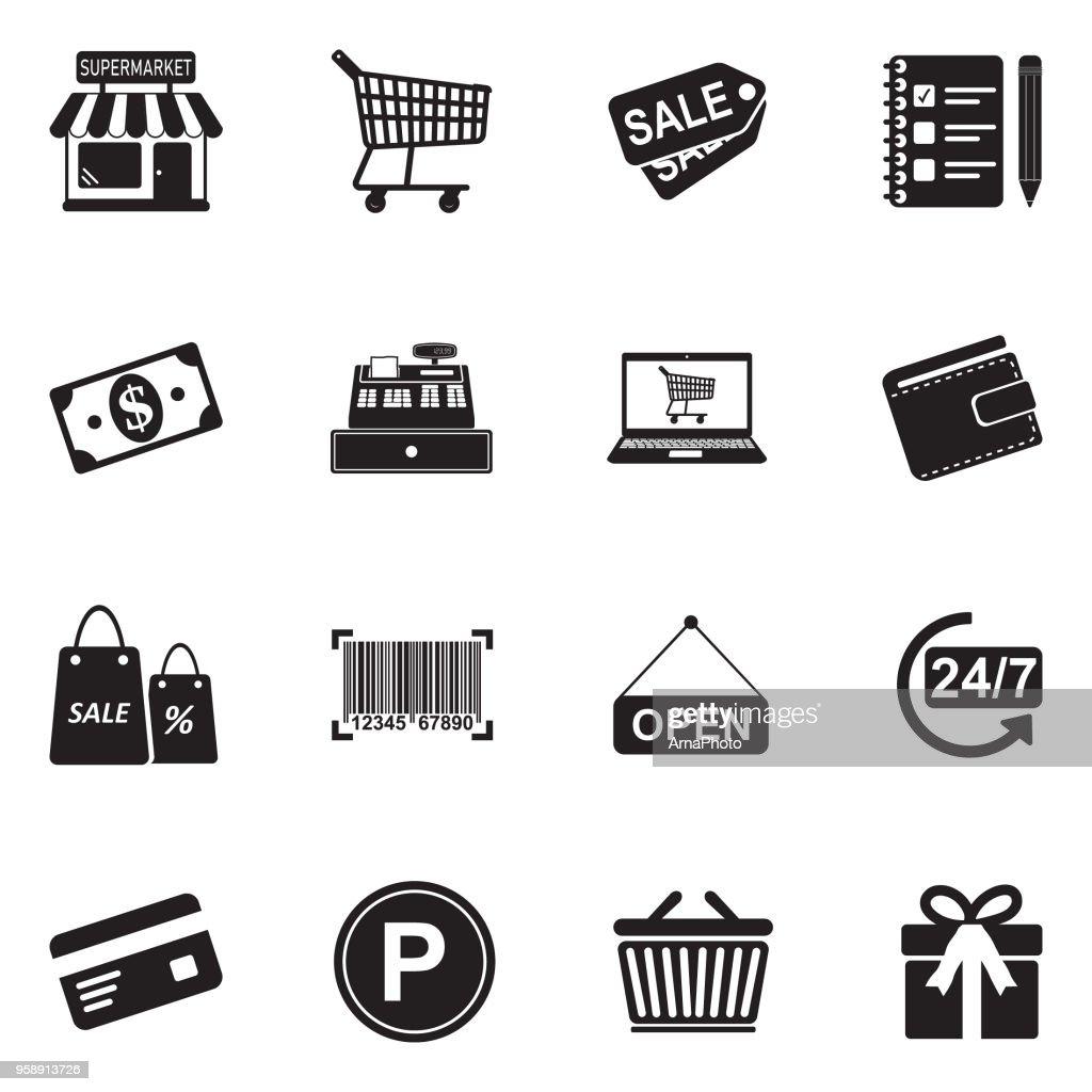 Supermarket Icons. Black Flat Design. Vector Illustration.