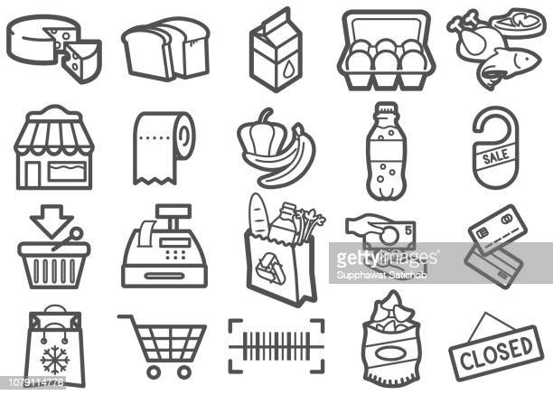 supermarket line icons set - closed sign stock illustrations, clip art, cartoons, & icons