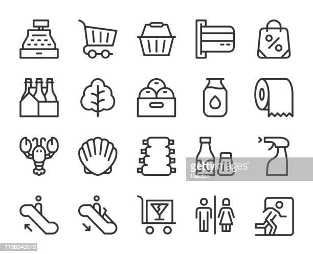 スーパーマーケットラインアイコン - 商売場所 市場点のイラスト素材/クリップアート素材/マンガ素材/アイコン素材