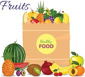 Supermarket packet full of fresh fruits. Food shopping packet with natural and organic food with flat color style