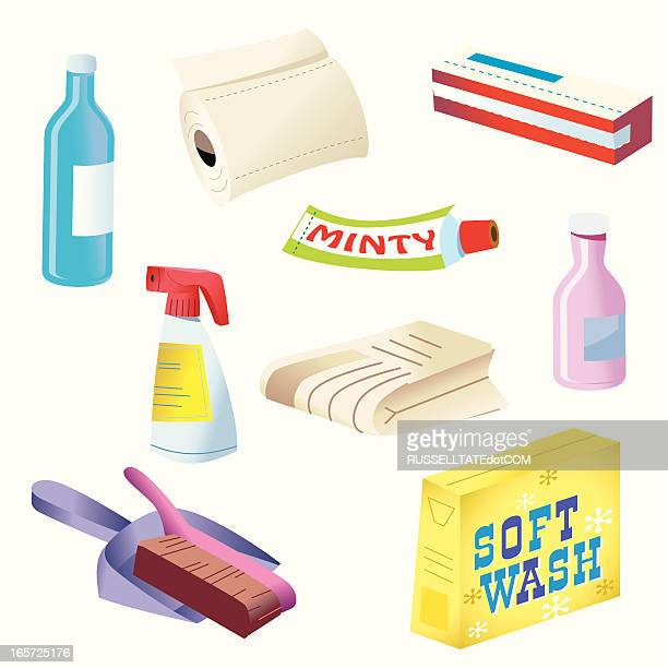 supermarket products - paper towel stock illustrations, clip art, cartoons, & icons