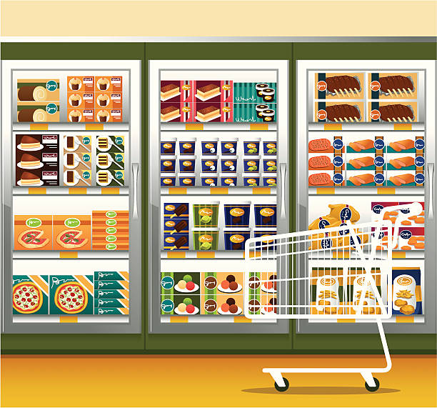 supermarket & shopping cart - frozen food stock illustrations