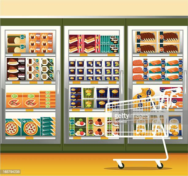supermarket & shopping cart - unhealthy eating stock illustrations