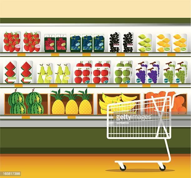 Supermarché & panier d'achats