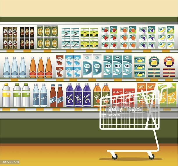 supermarket & shopping cart - juice drink stock illustrations, clip art, cartoons, & icons