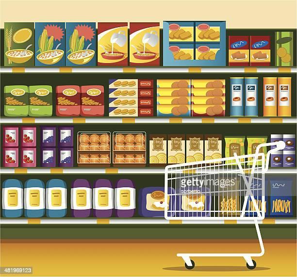 supermarket & shopping cart - breakfast cereal stock illustrations, clip art, cartoons, & icons