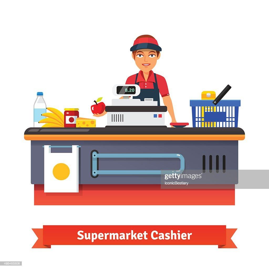 Supermarket store counter desk equipment and clerk