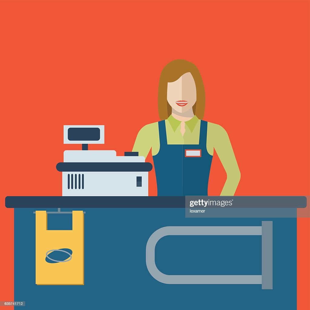 Supermarket store female cashier woman or sales clerk at store