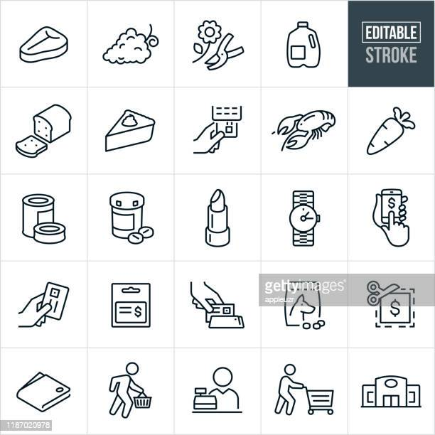 supermarket thin line icons - editable stroke - pet equipment stock illustrations