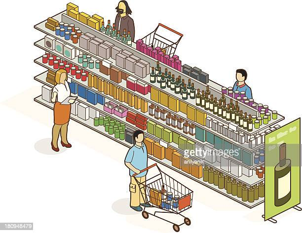 ilustraciones, imágenes clip art, dibujos animados e iconos de stock de supermercado - puesto de mercado