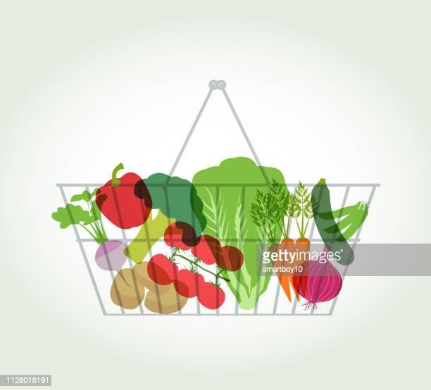 買い物かごでのスーパー マーケットの野菜