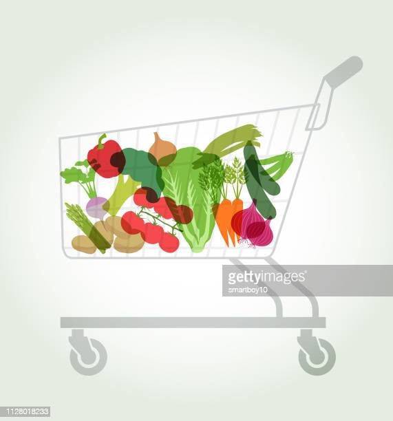 supermarket vegetables in shopping trolley or cart - parsnip stock illustrations, clip art, cartoons, & icons