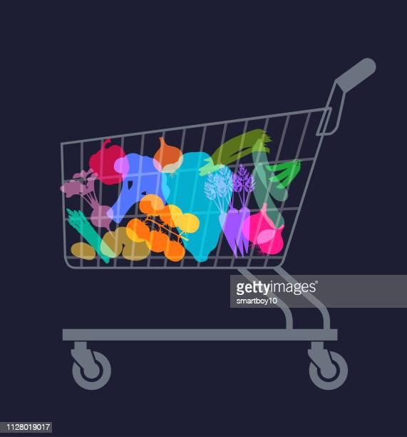 台車やカートの買い物でスーパー マーケットの野菜