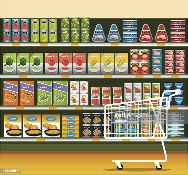 supermarket with canned food - packaging stock illustrations