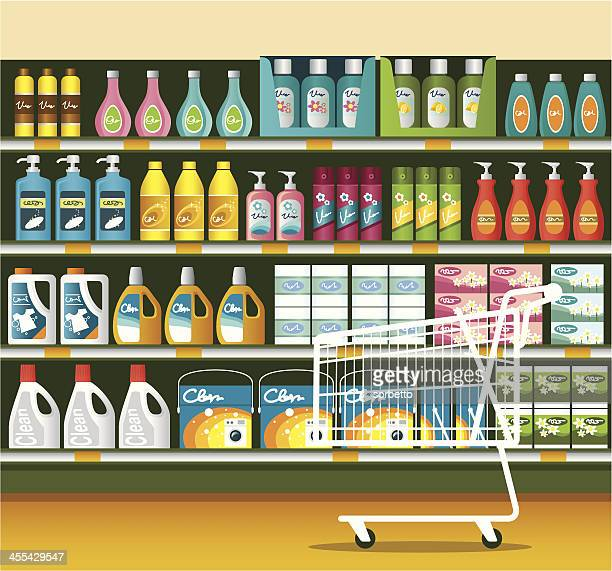 supermarket with cleaning product packaging - domestic life stock illustrations