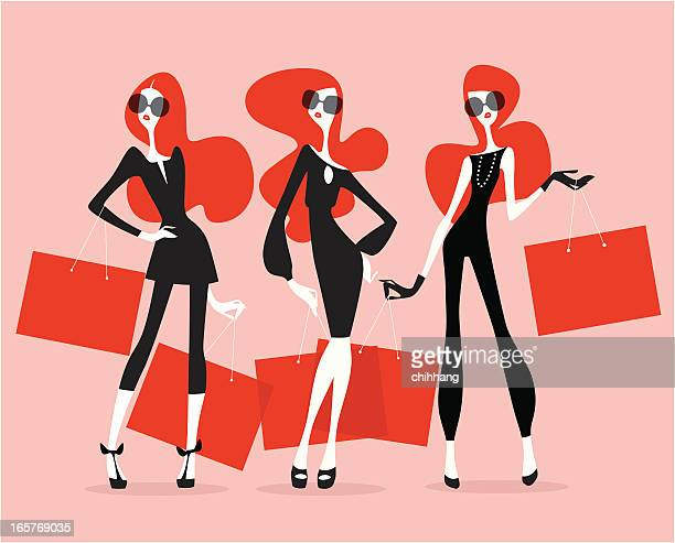 supermodels (shopping) - model stock illustrations