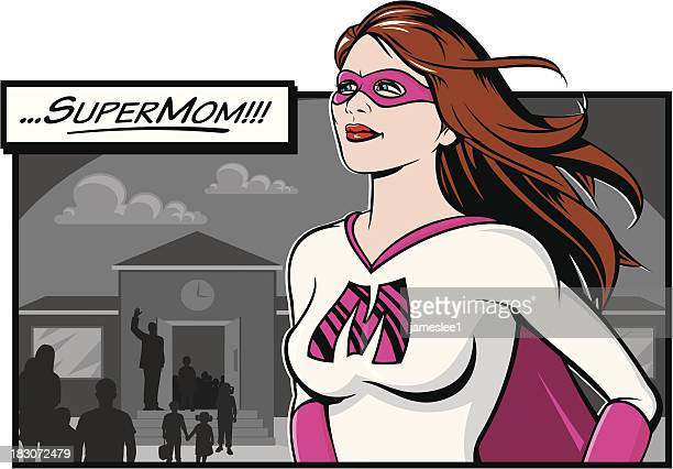 supermom - mother stock illustrations