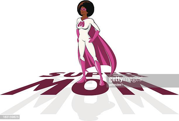supermom - afro stock illustrations