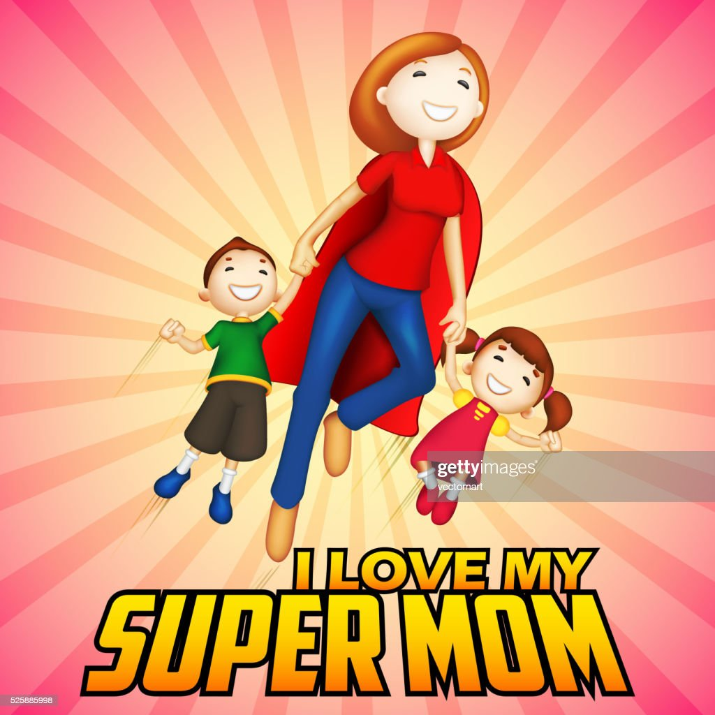 Supermom with kids in Happy Mother's Day card