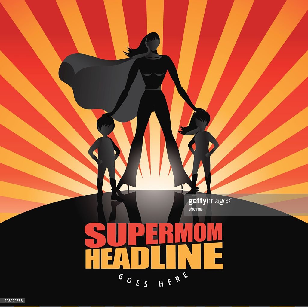 Supermom with two children background