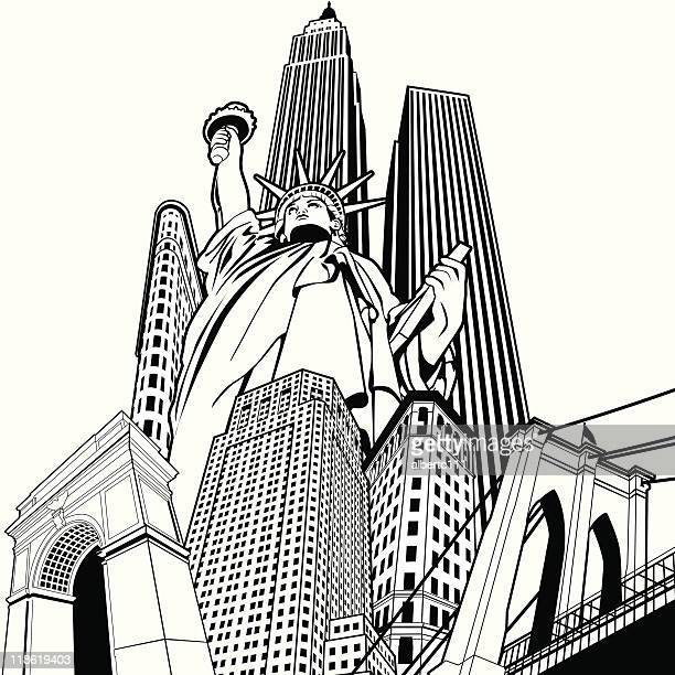 nyc superplex - brooklyn bridge stock illustrations, clip art, cartoons, & icons