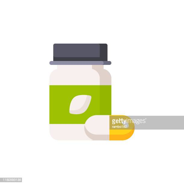 supplements, vitamins flat icon. pixel perfect. for mobile and web. - herbal medicine stock illustrations