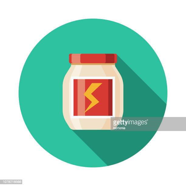 supplements weight loss flat design icon - nutritional supplement stock illustrations, clip art, cartoons, & icons